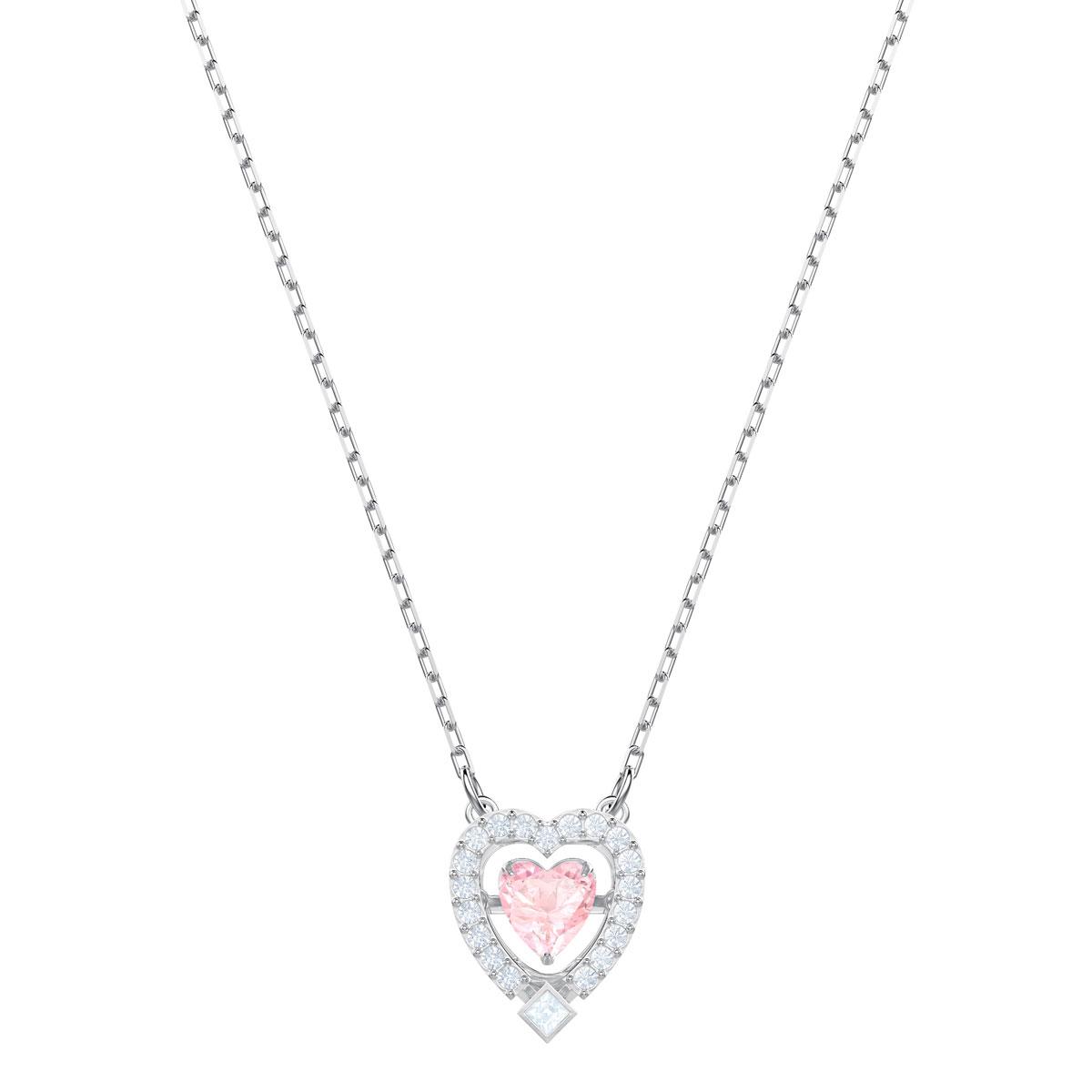 Swarovski Sparkling Dance Heart Necklace, Pink, Rhodium