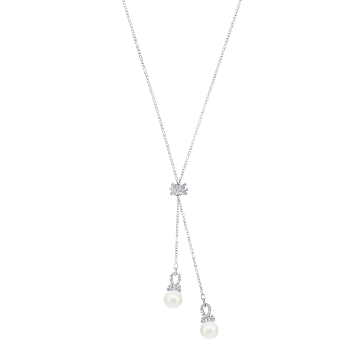 Swarovski Crystal, Pearl and Rhodium Originally Y Necklace