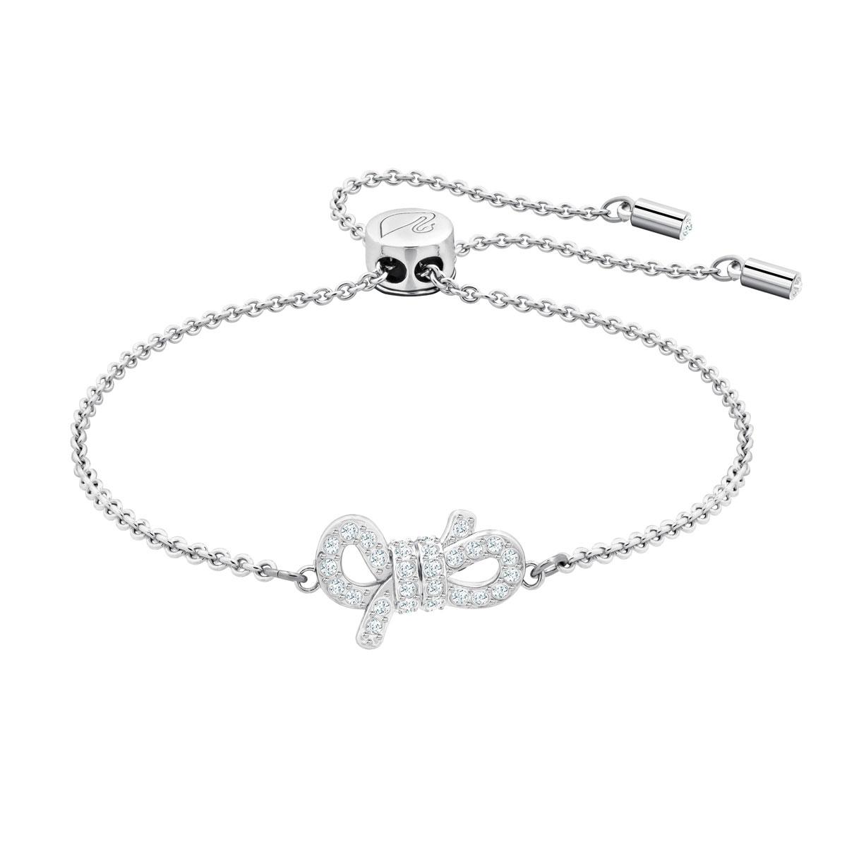 Swarovski Lifelong Bow Bracelet, White, Rhodium