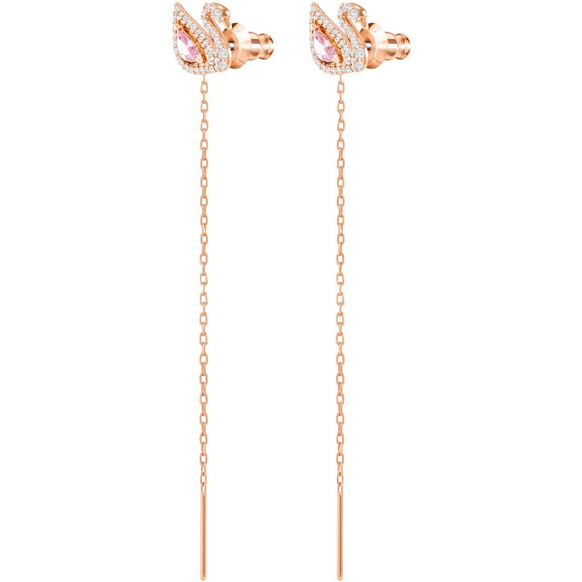 Swarovski Dazzling Swan Pierced Earrings, Multi Colored, Rose Gold