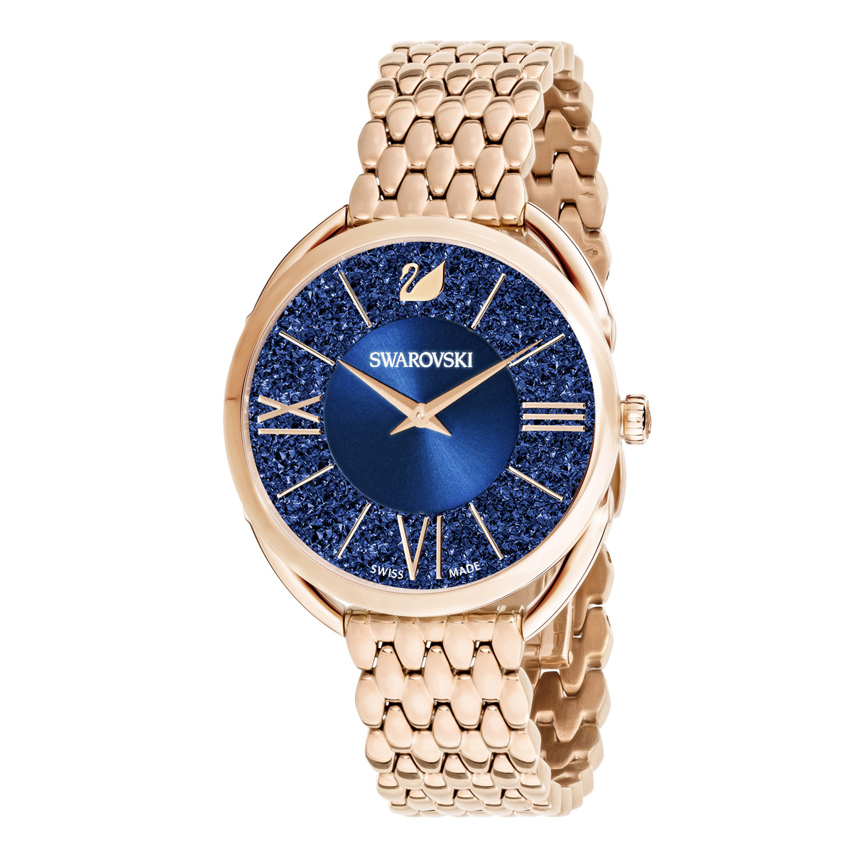 Swarovski Crystalline Glam Watch, Metal Bracelet, Blue, Rose Gold
