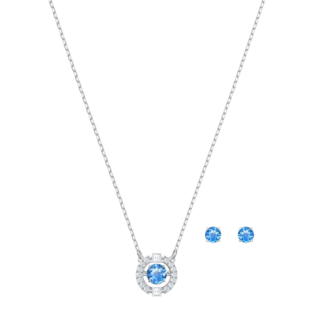 Swarovski Sparkling Necklace and Earrings Dance Round Set, Blue, Rhodium