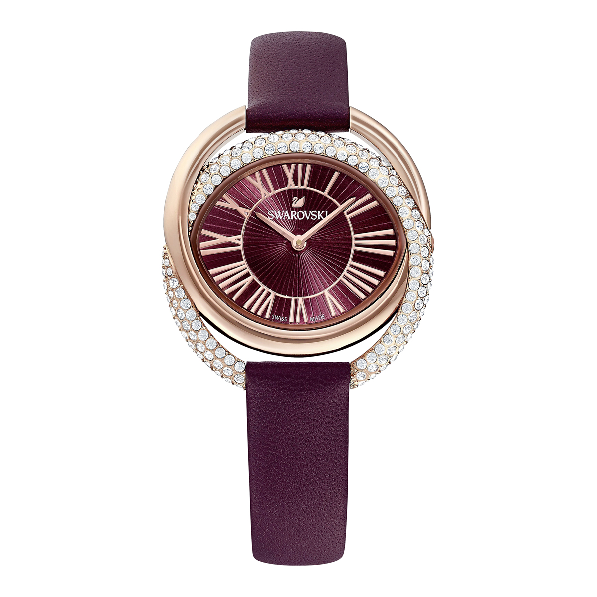 Swarovski Duo Watch, Leather Strap, Dark red, Rose Gold