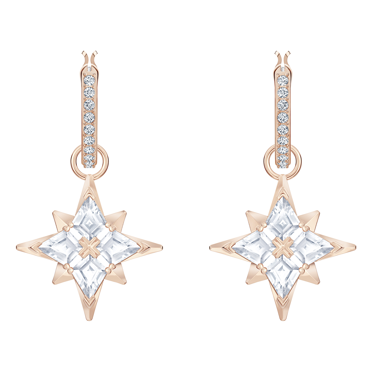 Swarovski Symbolic Star Hoop Pierced Earrings, White, Rose Gold