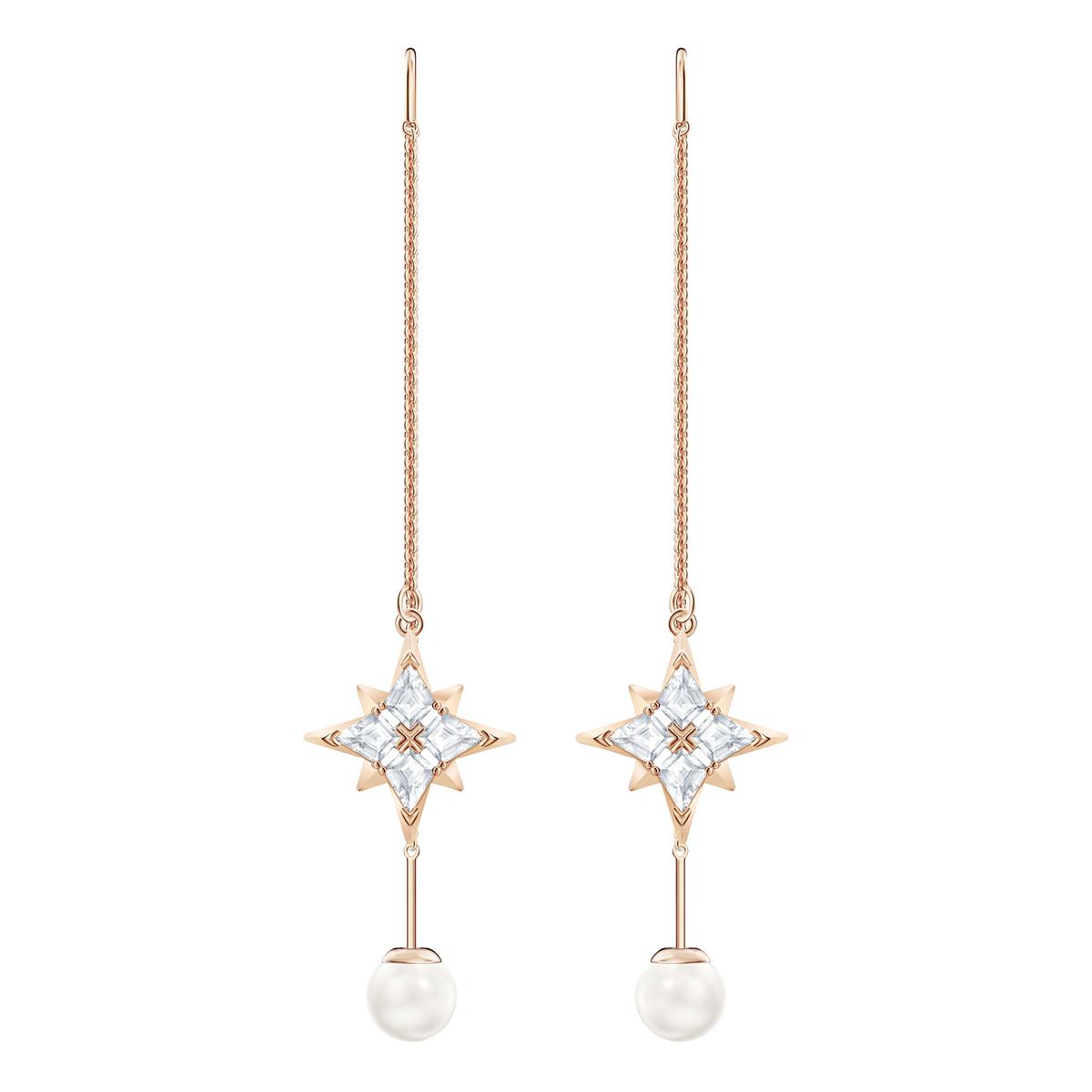 Swarovski Symbolic Chain Pierced Earrings, White, Rose Gold