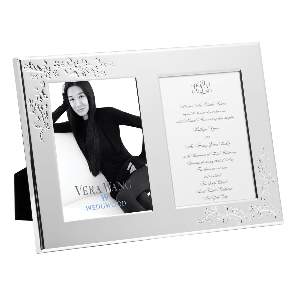 "Vera Wang Wedgwood Lace Bouquet Double Invitation 5x7"" Picture Frame"