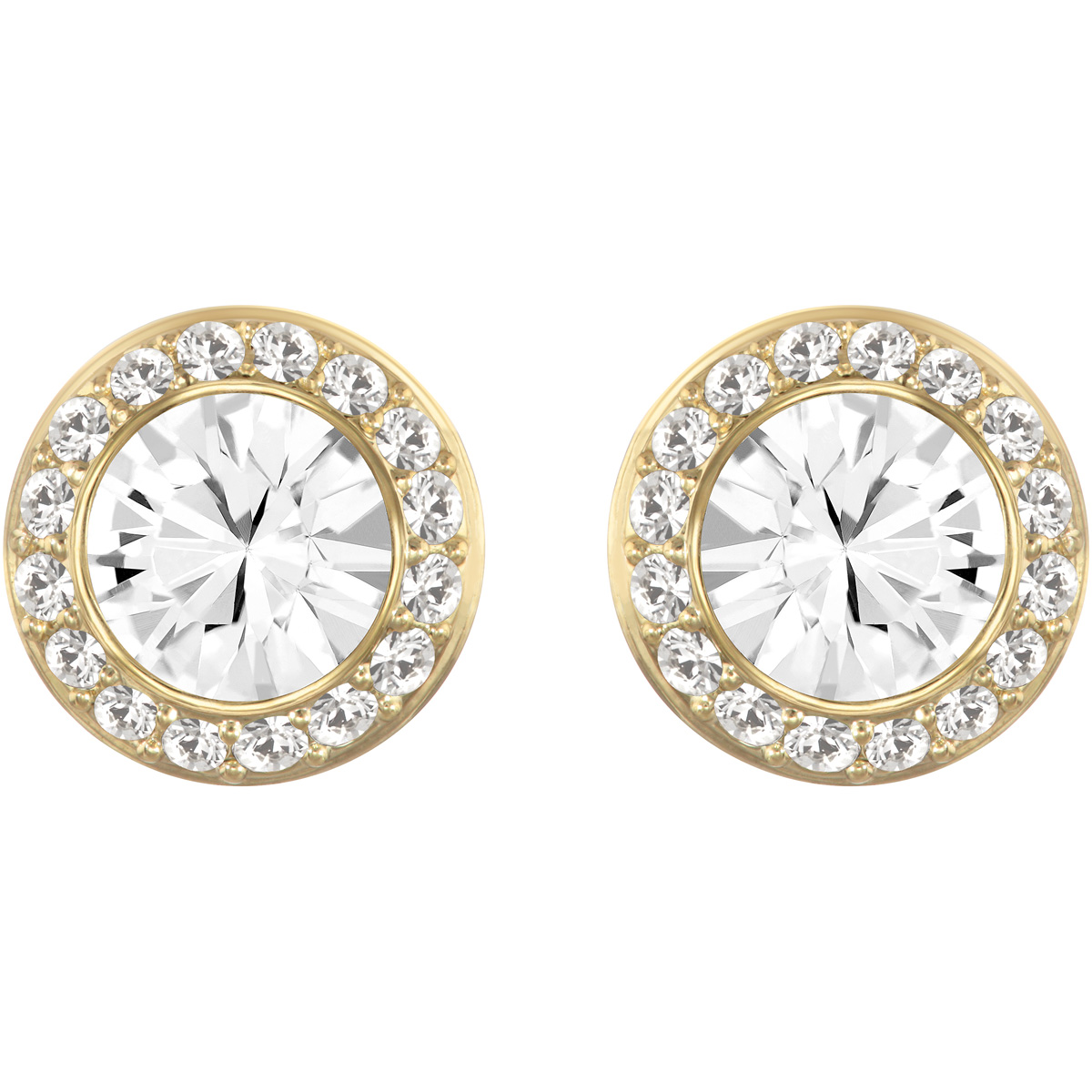 Swarovski Angelic Stud Pierced Earrings, White, Gold
