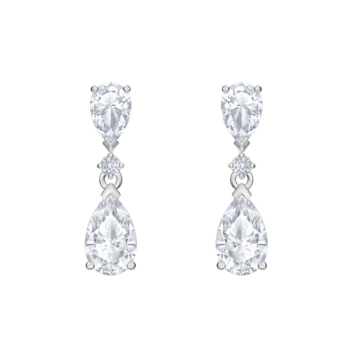 Swarovski Rhodium Silver and Crystal Palace Drop Pierced Earrings