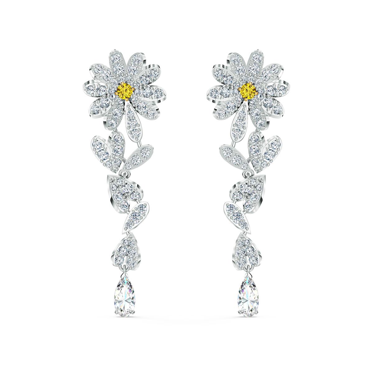 Swarovski Eternal Flower Pierced Earrings Red Crystal Mix