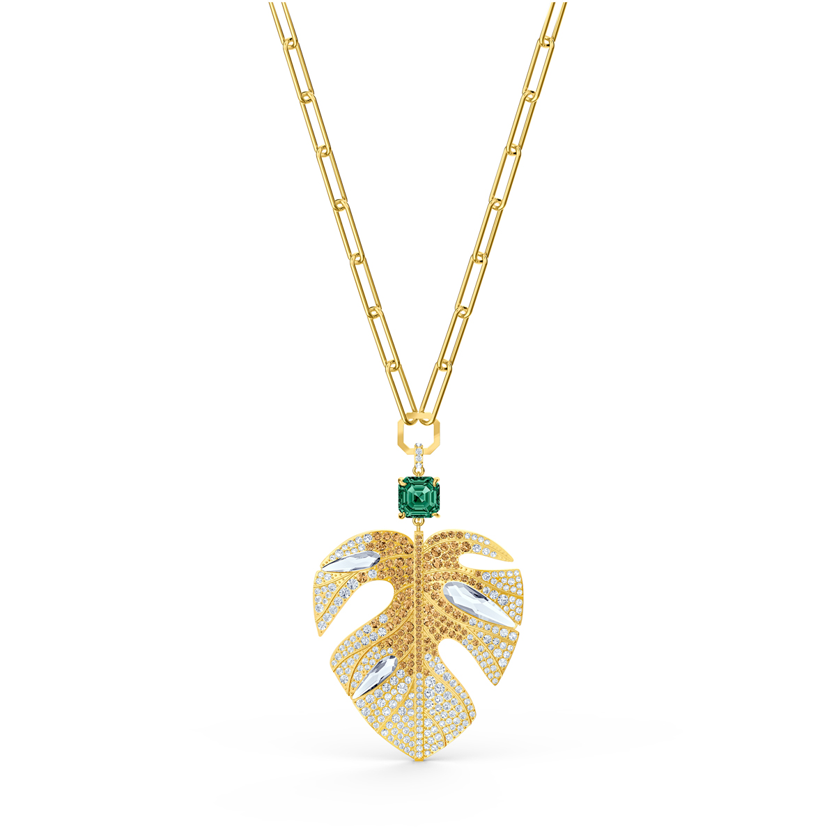 Swarovski Necklace Tropical Pendant Leaf Light Multi Gold