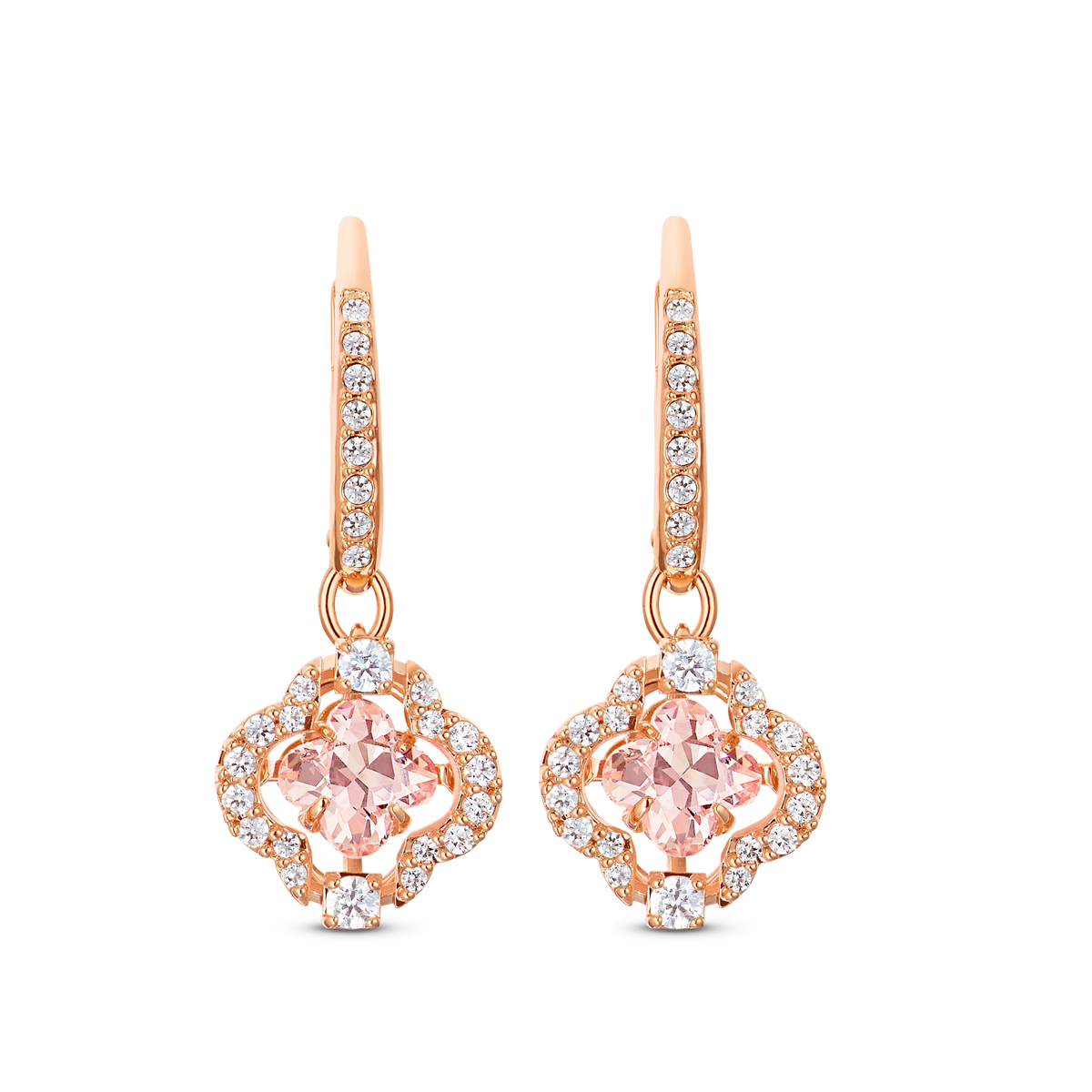 Swarovski Sparkling Dance Pierced Earrings Clover Crystal Rose Gold