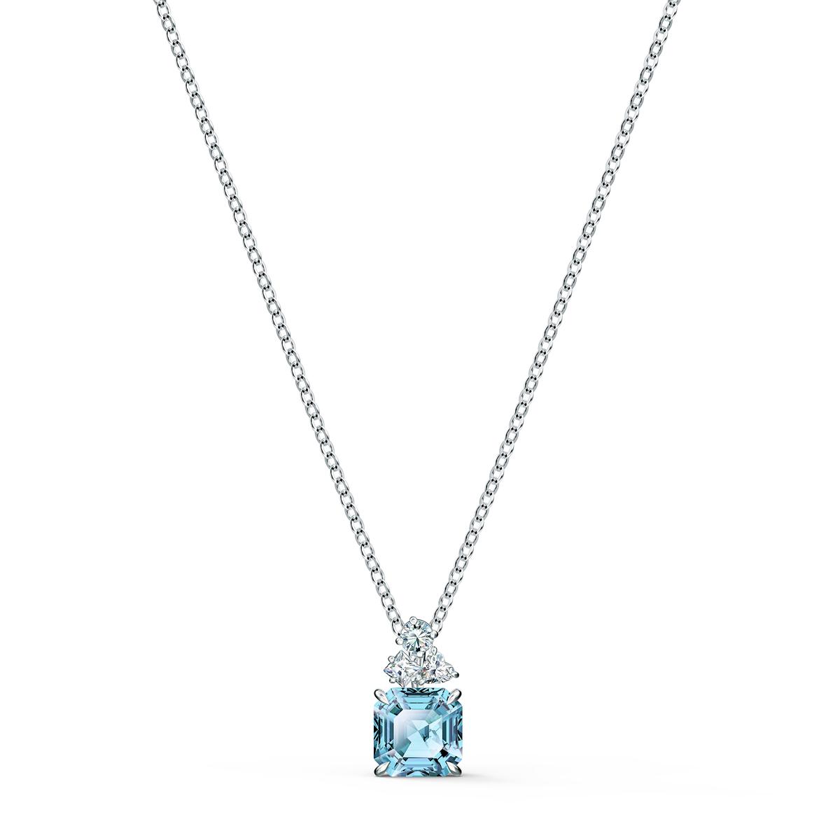 Swarovski Necklace Sparkling Pendant Square Aqua Rhodium Silver