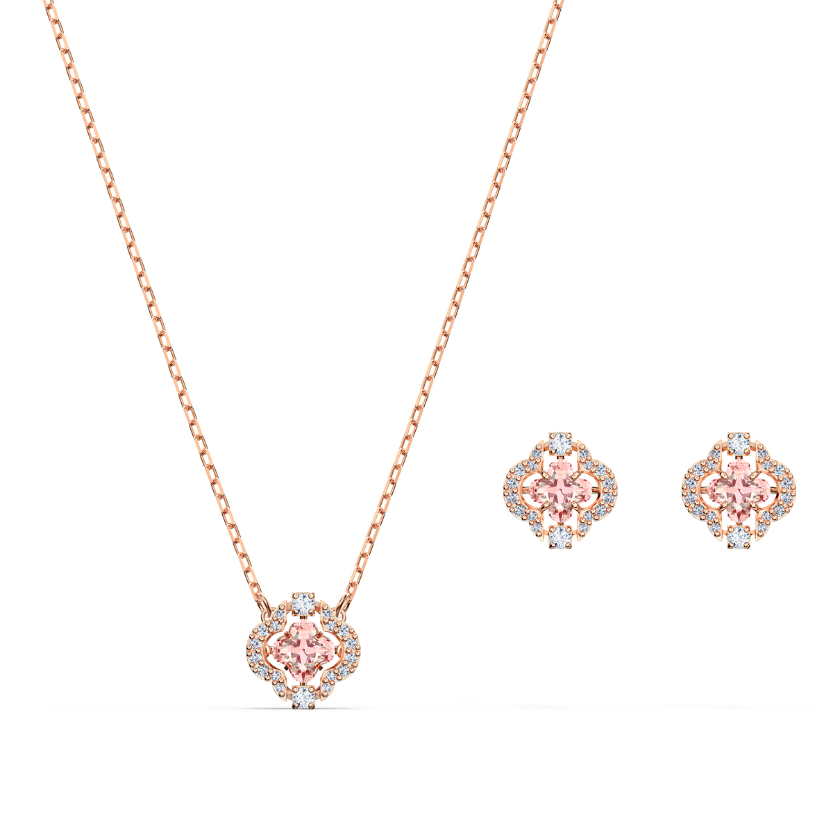 Swarovski Set Sparkling Necklace and Earrings Dance Set Clover Crystal Rose Gold