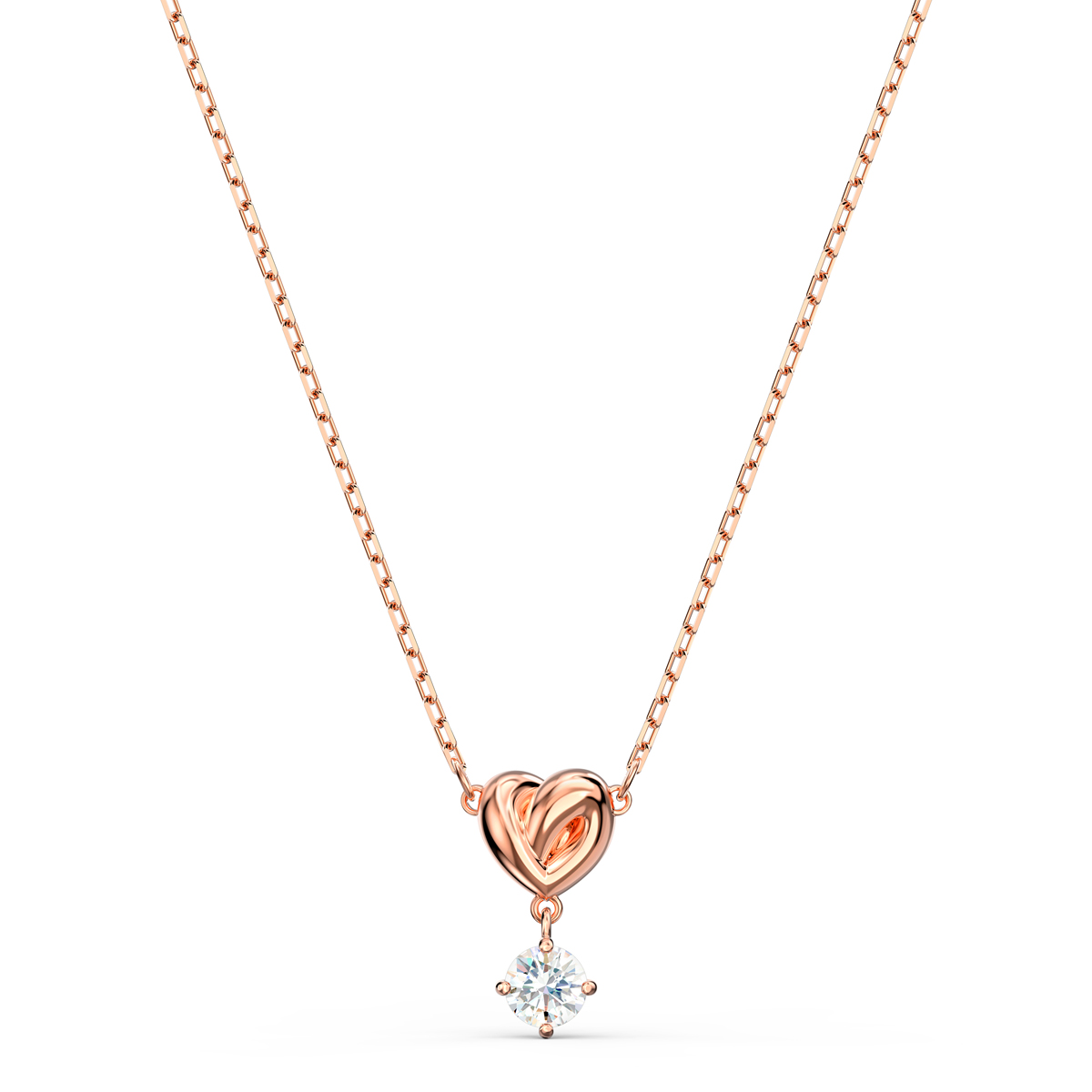 Swarovski Necklace Lifelong Heart Pendant Solitare Crystal and Rose Gold
