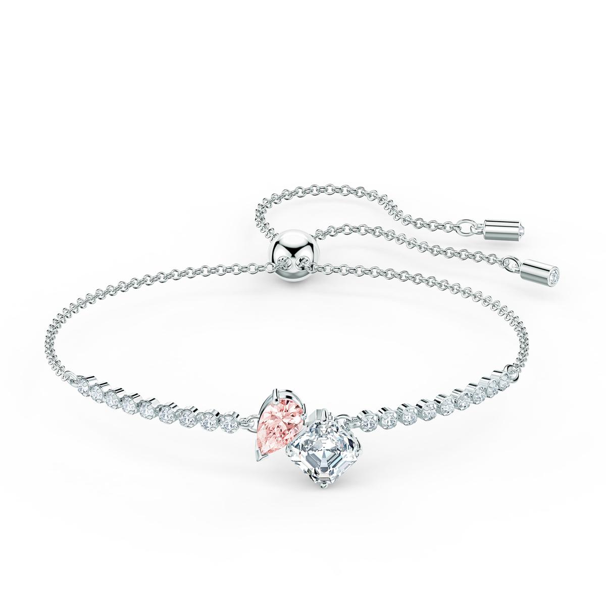 Swarovski Bracelet Attract Soul Pink Crystal Rhodium Silver M