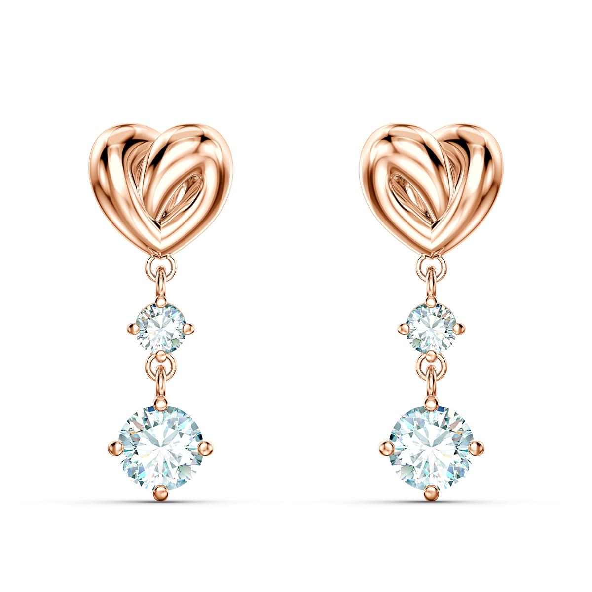 Swarovski Lifelong Heart Pierced Earrings Dangle Crystal Rose Gold
