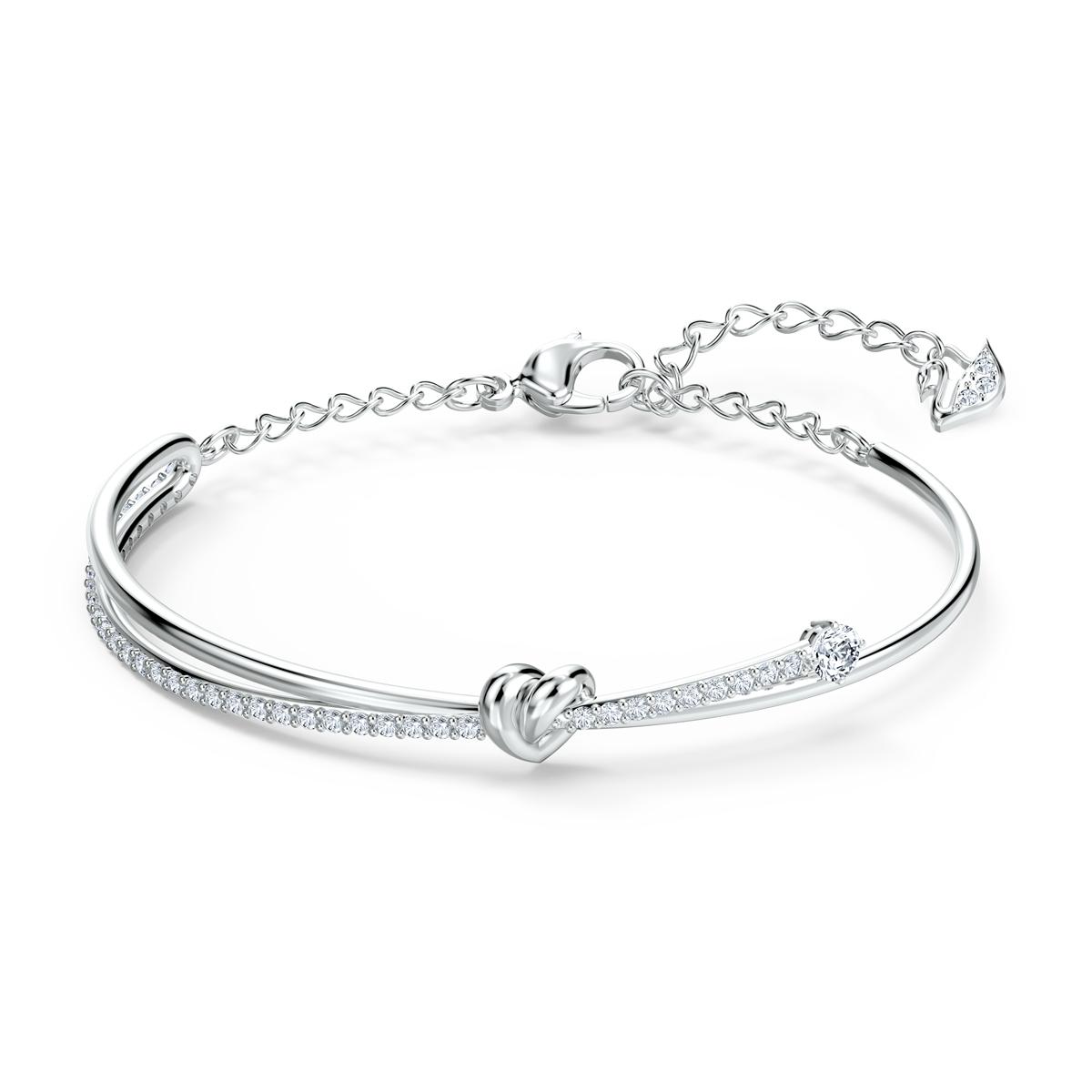 Swarovski Crystal and Rhodium Silver Lifelong Heart Bangle Bracelet