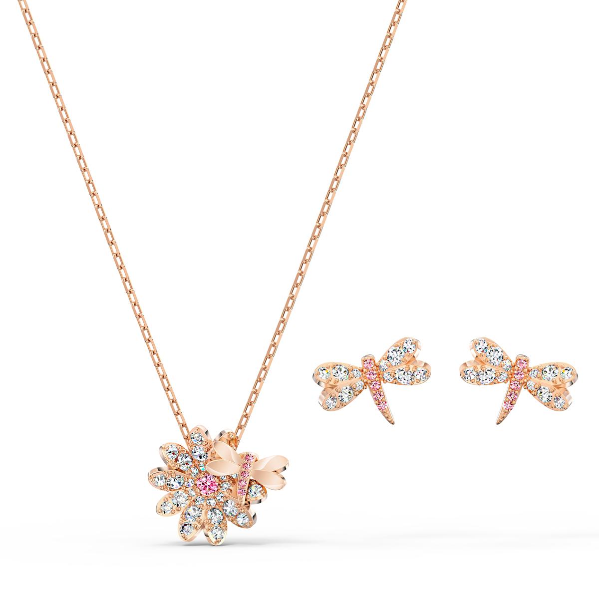 Swarovski Eternal Flower Necklace and Earring Set Dragonfly Light Multi Rose Gold