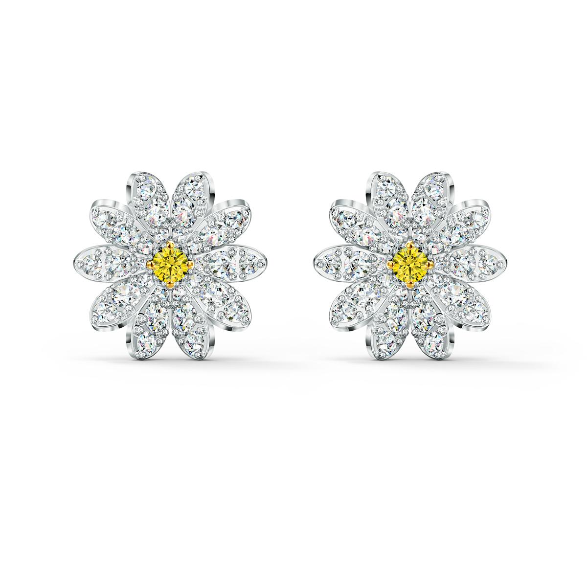 Swarovski Eternal Flower Pierced Earrings Stud Light Multi Rhodium Silver