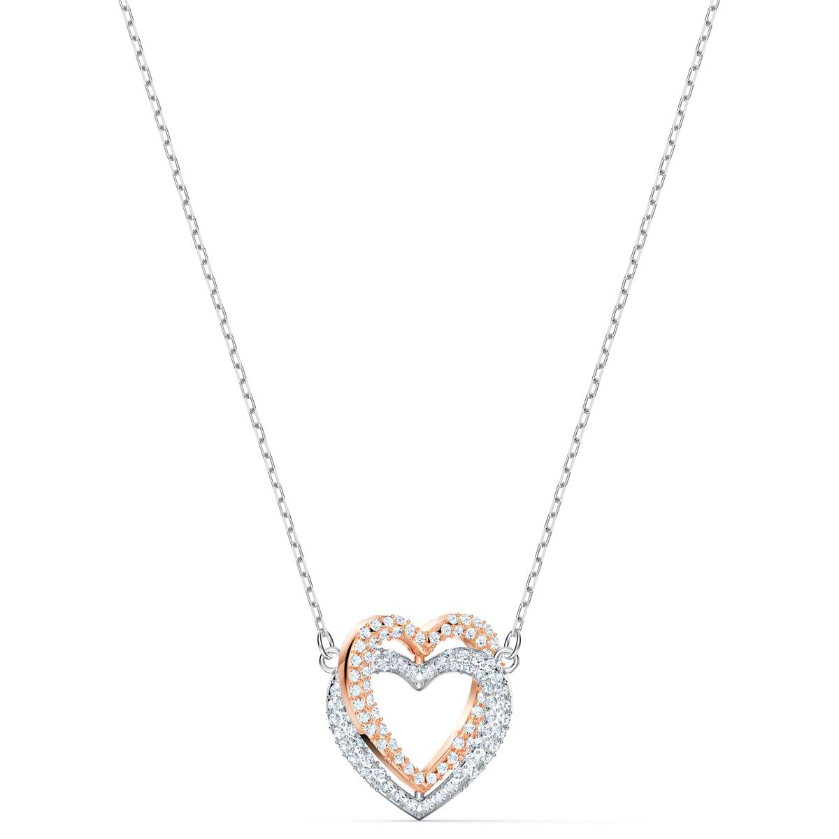 Swarovski Necklace Infinity Necklace Double Heart Crystal Mix