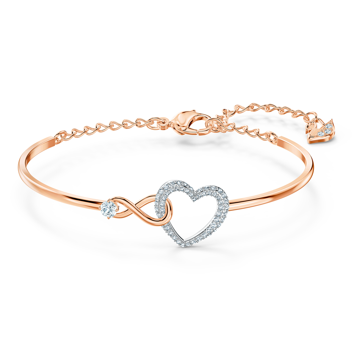 Swarovski Crystal Gold Infinity Heart Bangle Bracelet