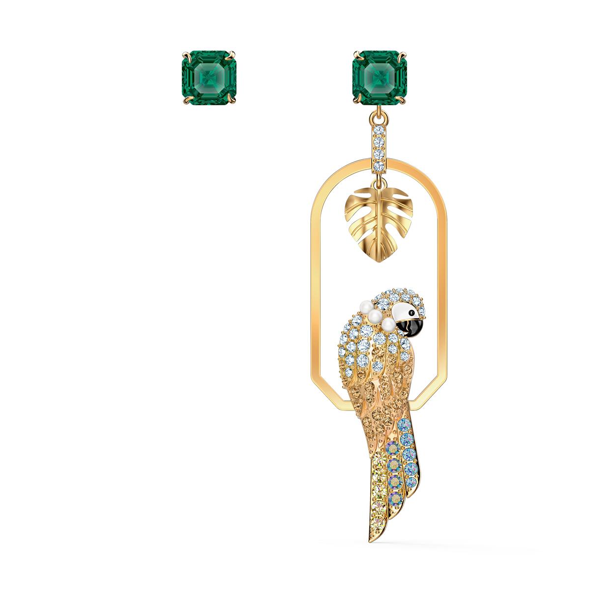 Swarovski Tropical Pierced Earrings Parrot Small Light Multi Gold