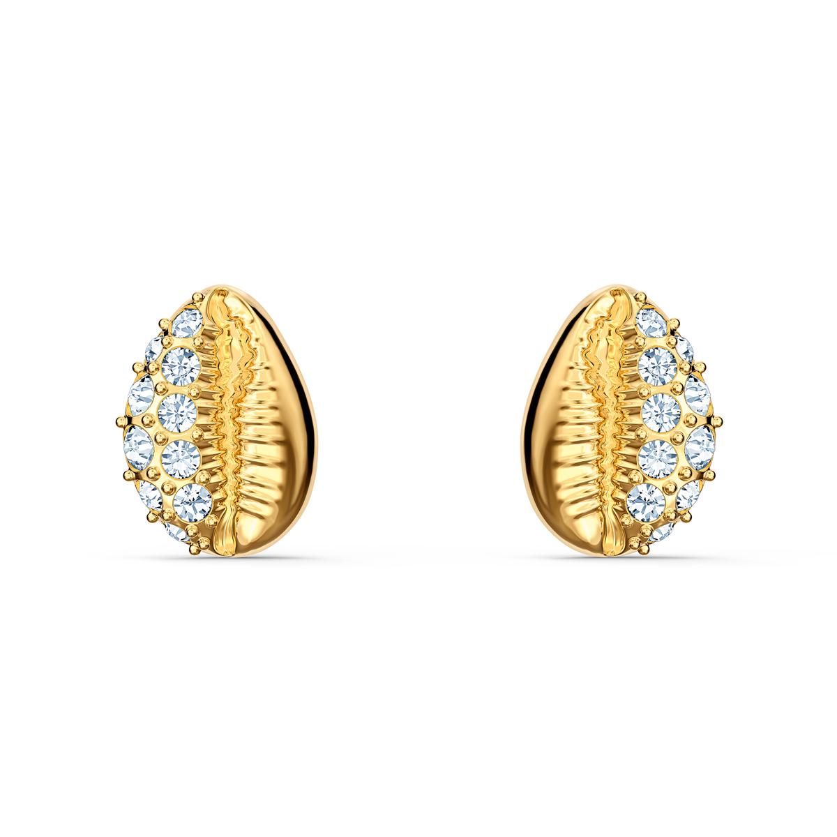 Swarovski Gold and Crystal Shell Stud Pierced Earrings