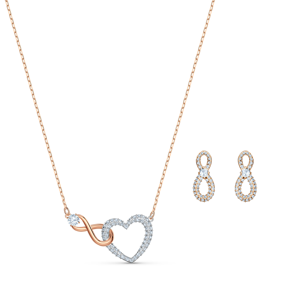 Swarovski Infinity Necklace and Earring Set Heart Infinity Crystal Rose Gold