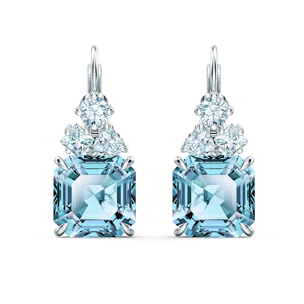 Swarovski Sparkling Pierced Earrings Drop Aqua Rhodium Silver