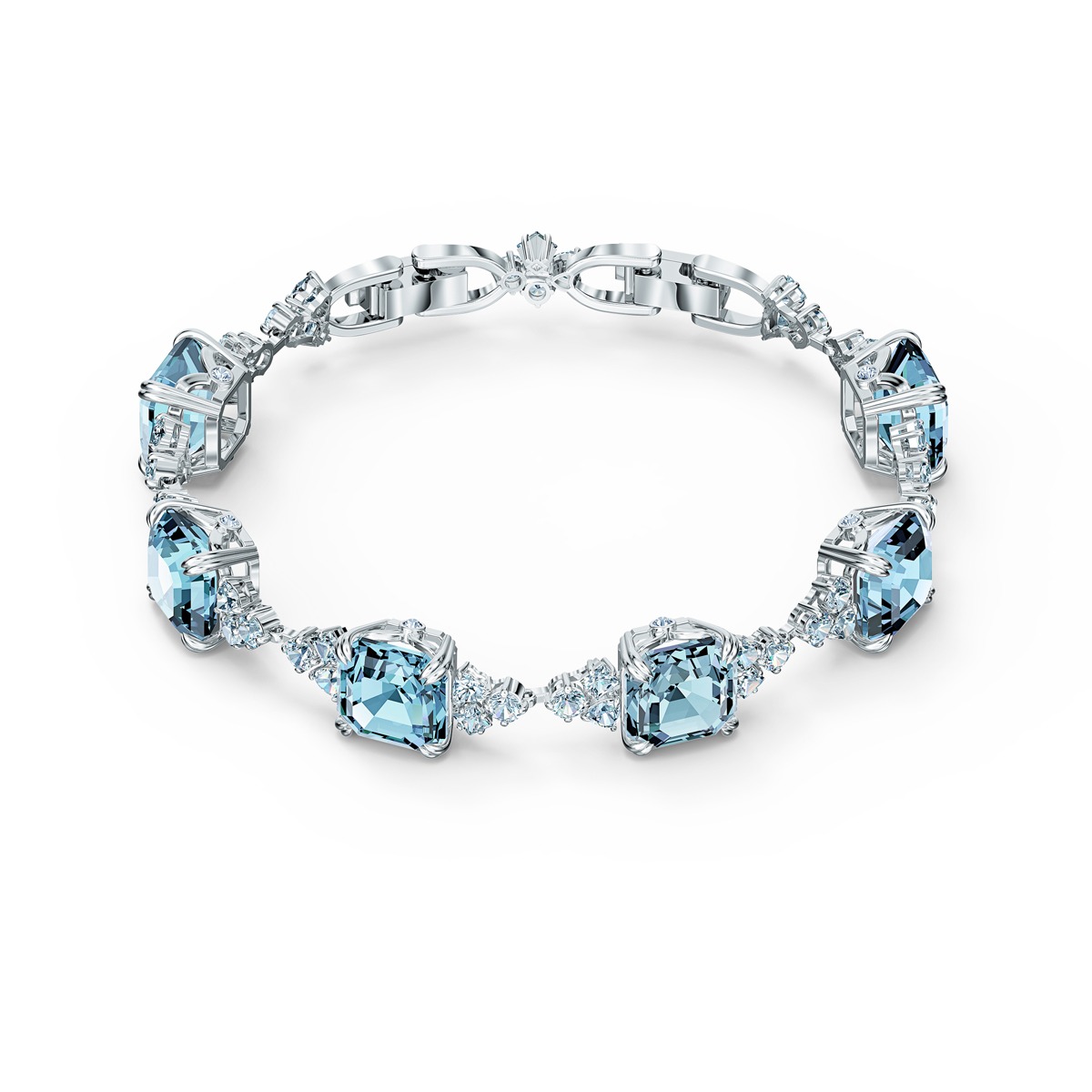 Swarovski Bracelet Sparkling Aqua Rhodium Silver M