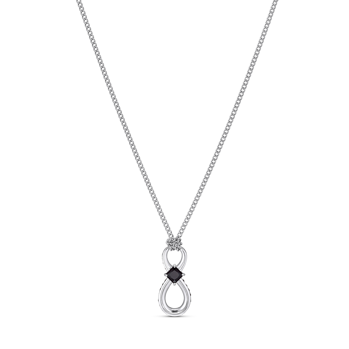 Swarovski Infinity Pendant Necklace Jet Rhodium Silver