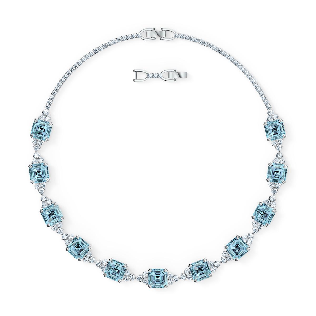 Swarovski Necklace Sparkling All-Around Altern Aqua Rhodium Silver