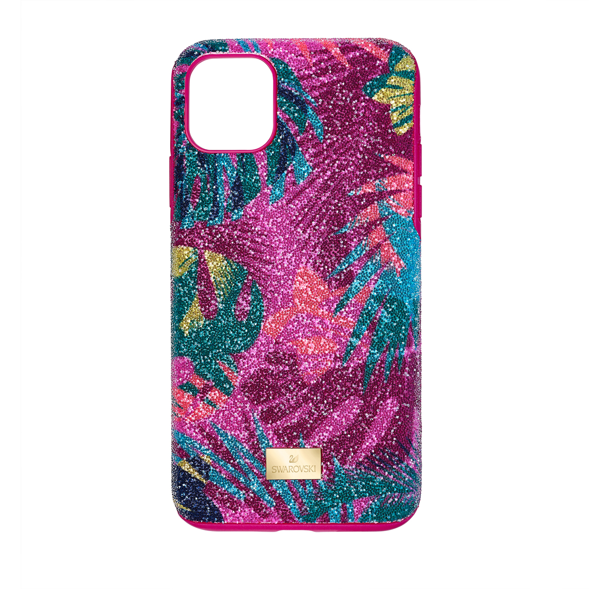 Swarovski Mobile Phone Case Tropical iPhone 11 Pro Max Case Multi Stainless Steel Shiny Gold