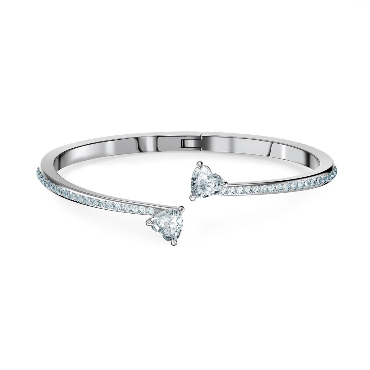 Swarovski Bracelet Attract Soul Bangle Heart Crystal Rhodium Silver S