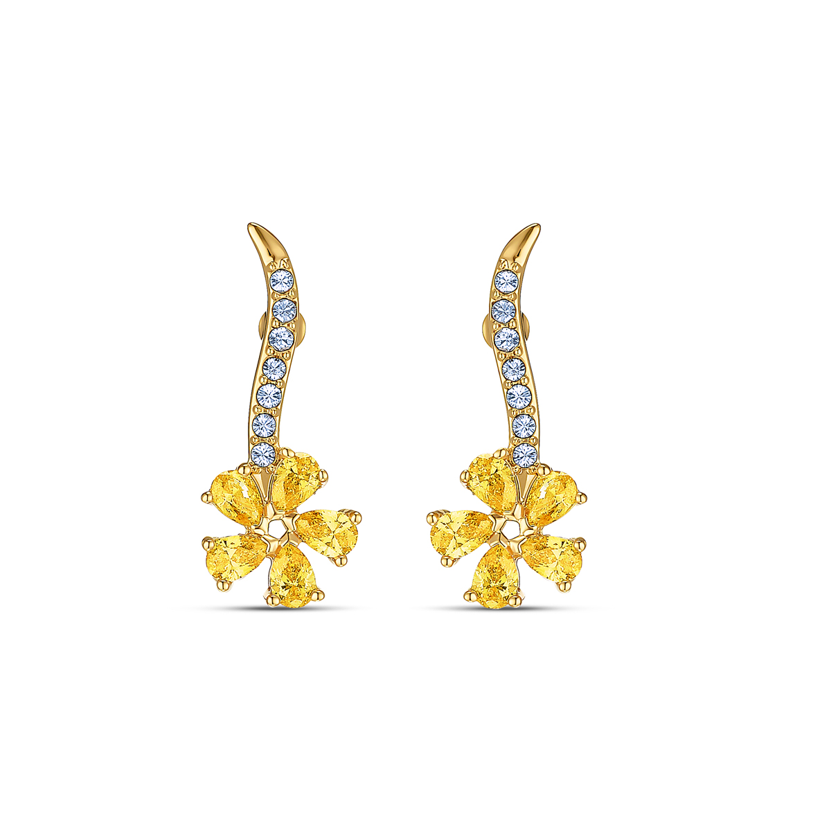 Swarovski Botanical Pierced Earrings Flower Gold