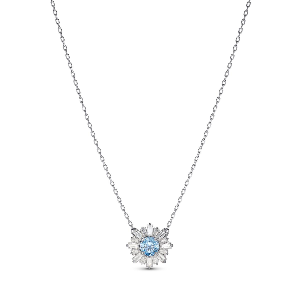 Swarovski Necklace Sunshine Pendant Med Crystal Light Blue Rhodium Silver