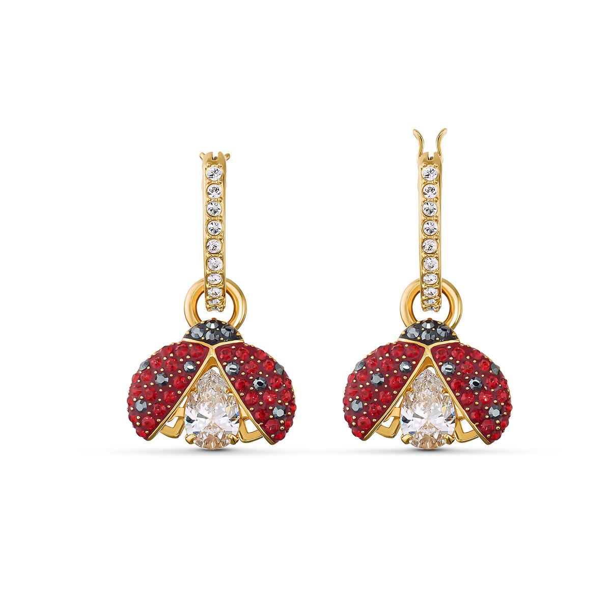 Swarovski Sparkling Dance Pierced Earrings Hoop Dark Multi Gold