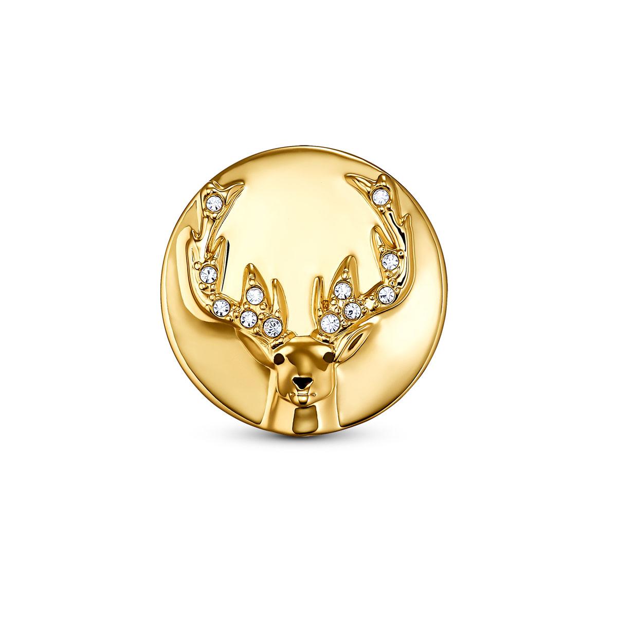Swarovski Crystal and Gold Stag Tack Pin