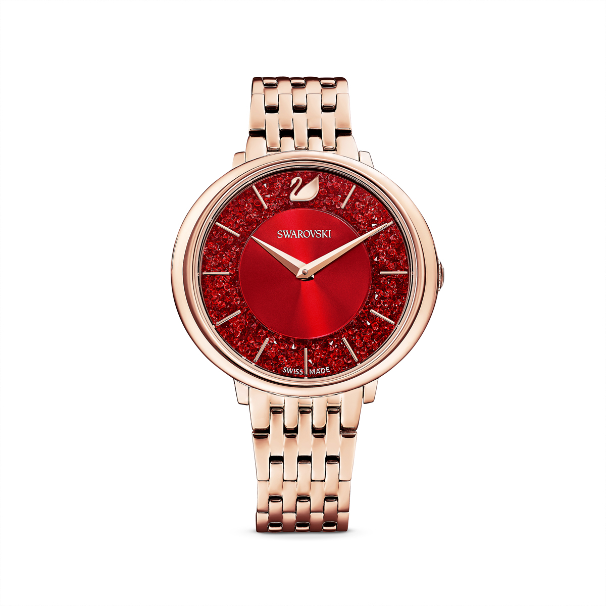 Swarovski Crystalline Chic Watch, Metal Bracelet, Red, Rose Gold Tone