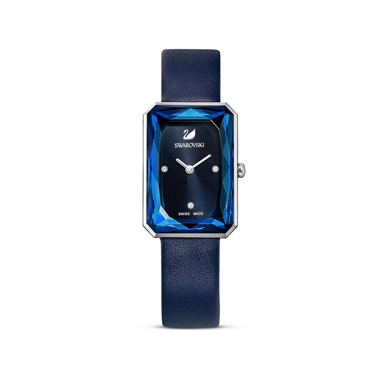 Swarovski Uptown Watch, Leather Strap, Blue, Stainless Steel
