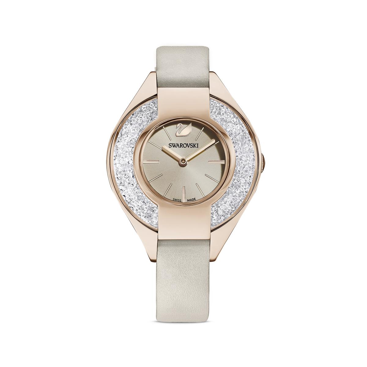 Swarovski Crystalline Sporty Watch, Leather Strap, Gray, Champagne Gold Tone