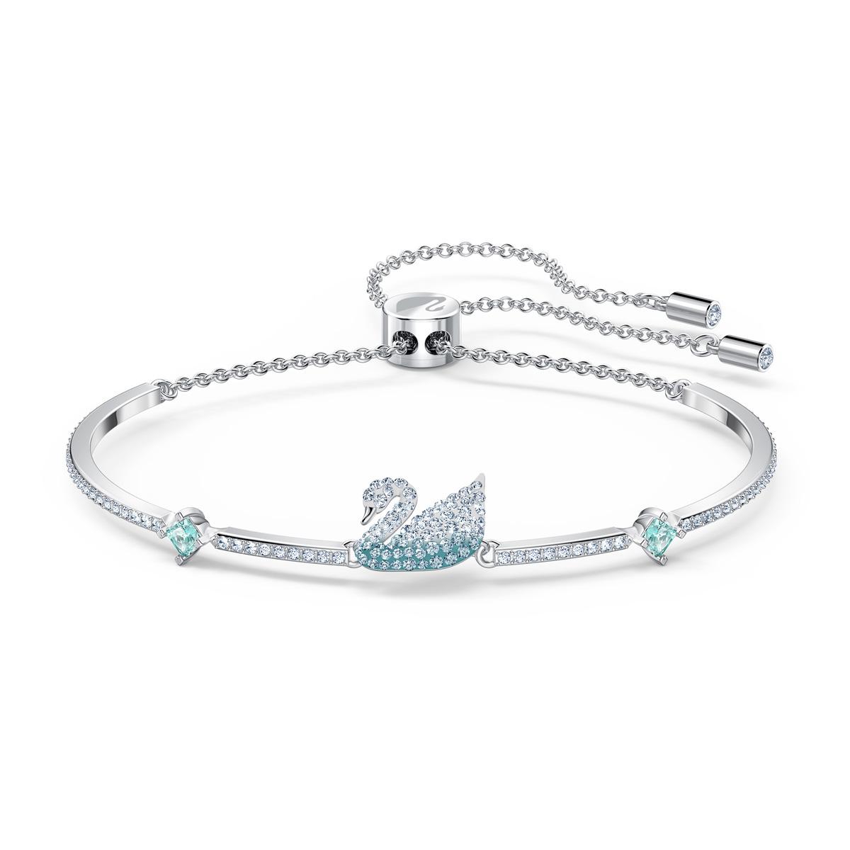 Swarovski Iconic Swan Bangle Bracelet, Blue, Rhodium Plated