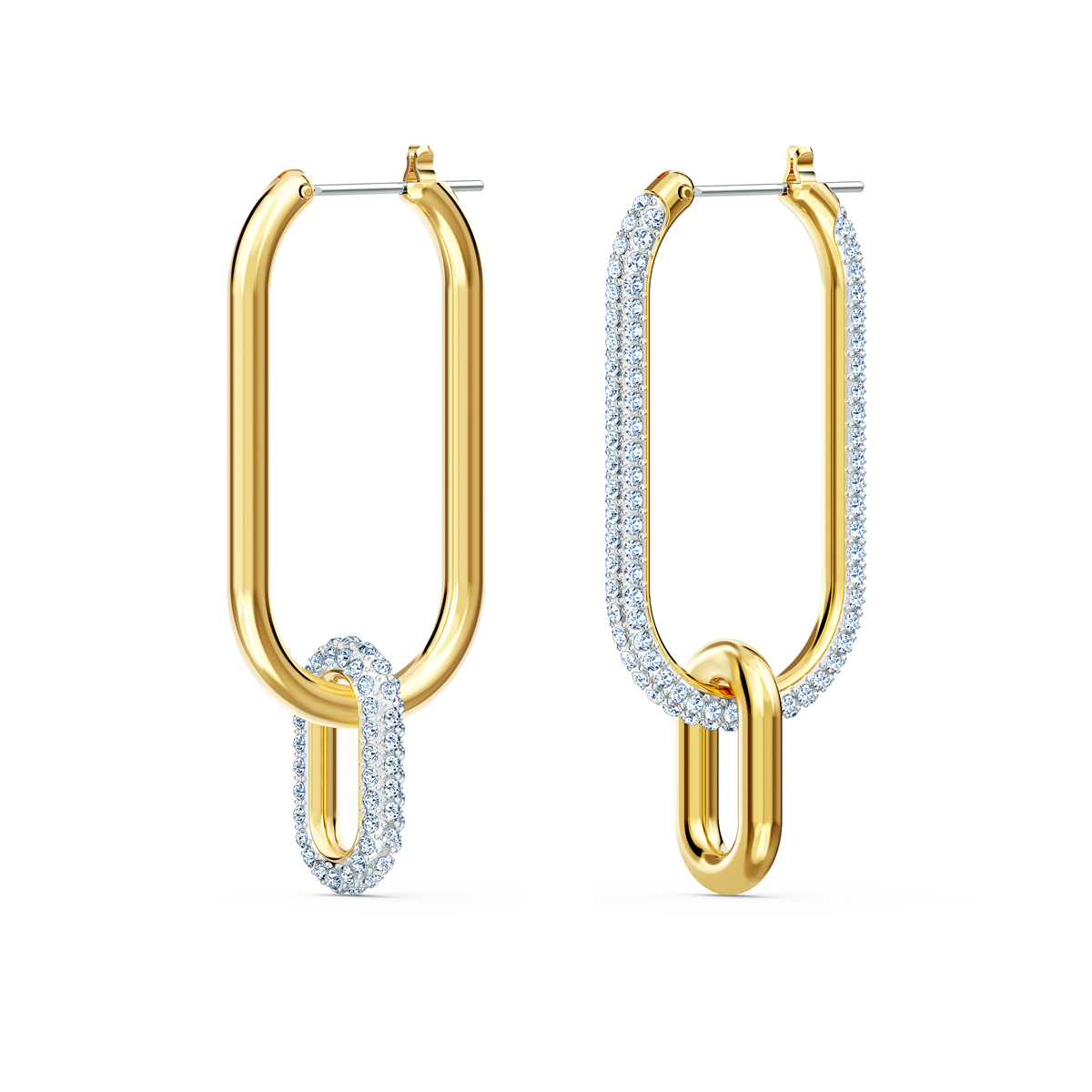 Swarovski Time Hoop Pierced Earrings, White, Mixed Metal Finish