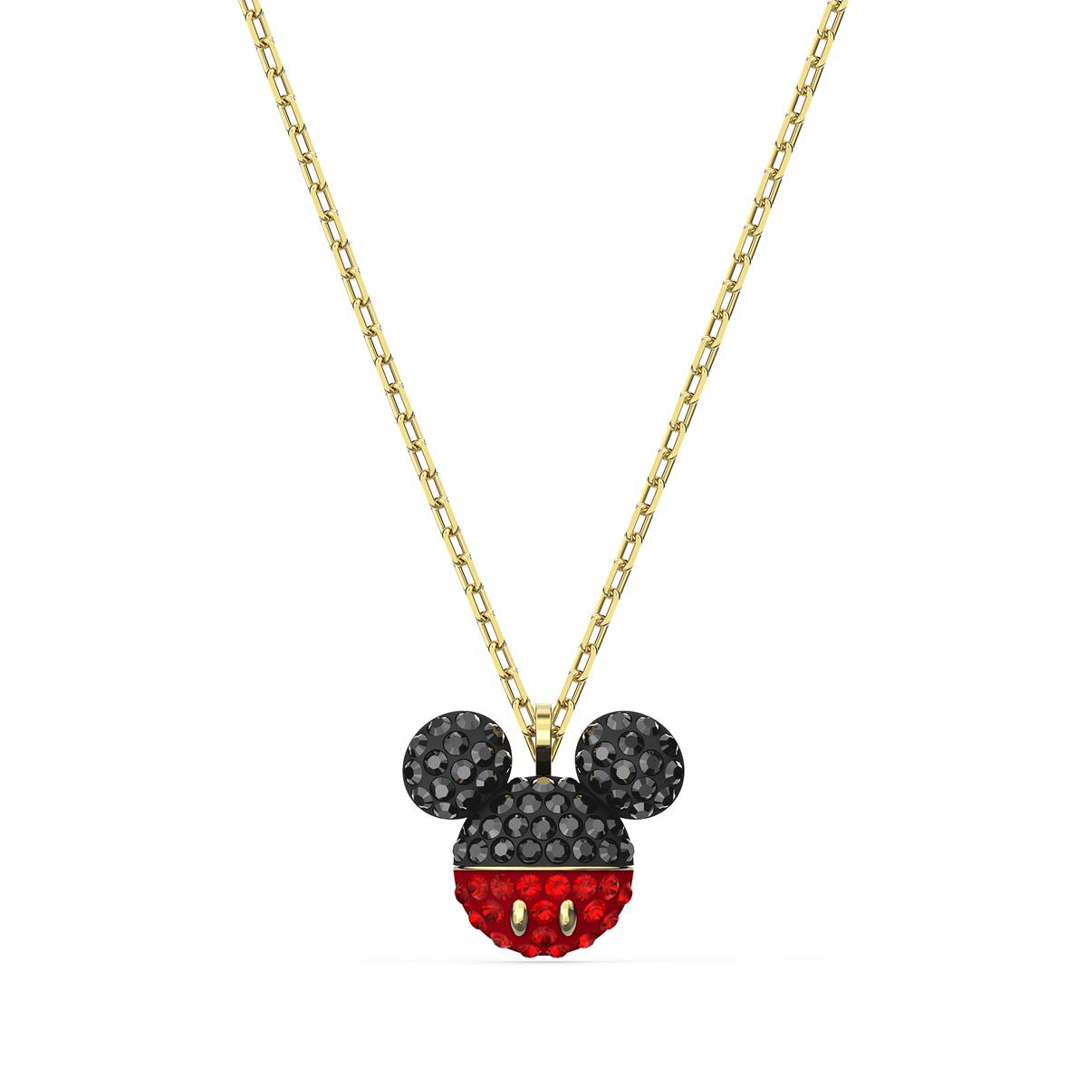 Swarovski Mickey Pendant Necklace, Black, Gold Tone Plated