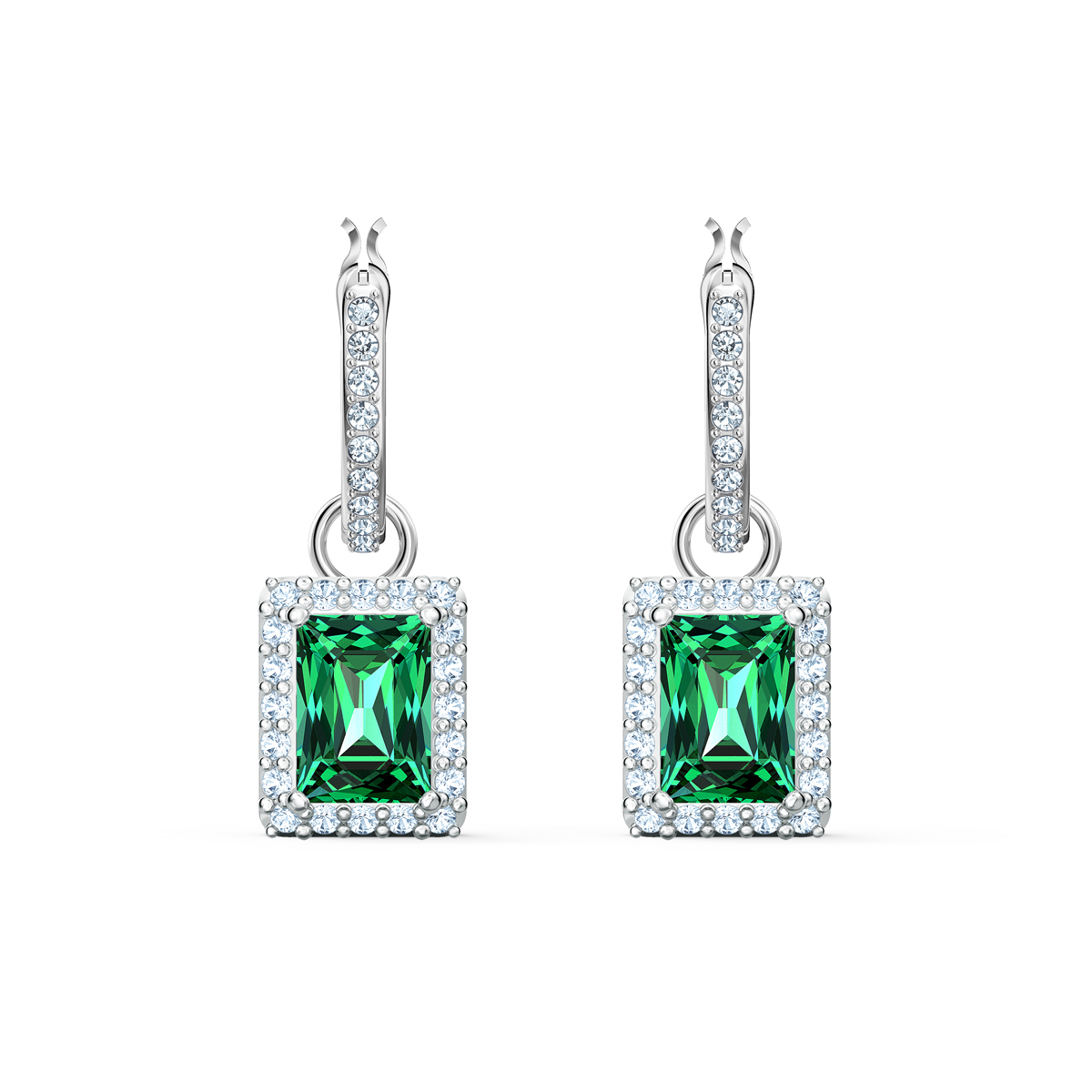 Swarovski Angelic Rectangular Pierced Earrings, Green, Rhodium Plated
