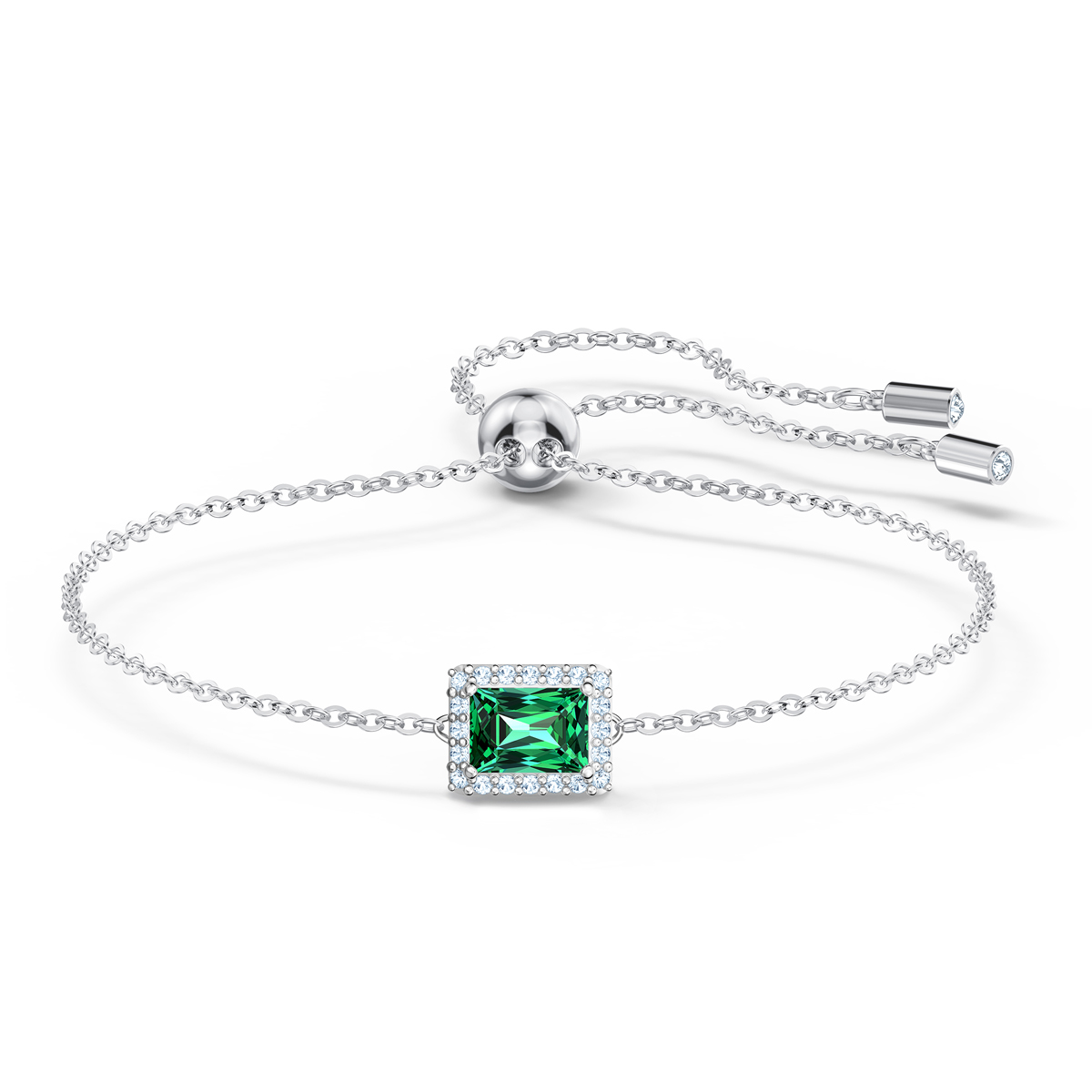 Swarovski Angelic Rectangular Bracelet, Green, Rhodium Plated
