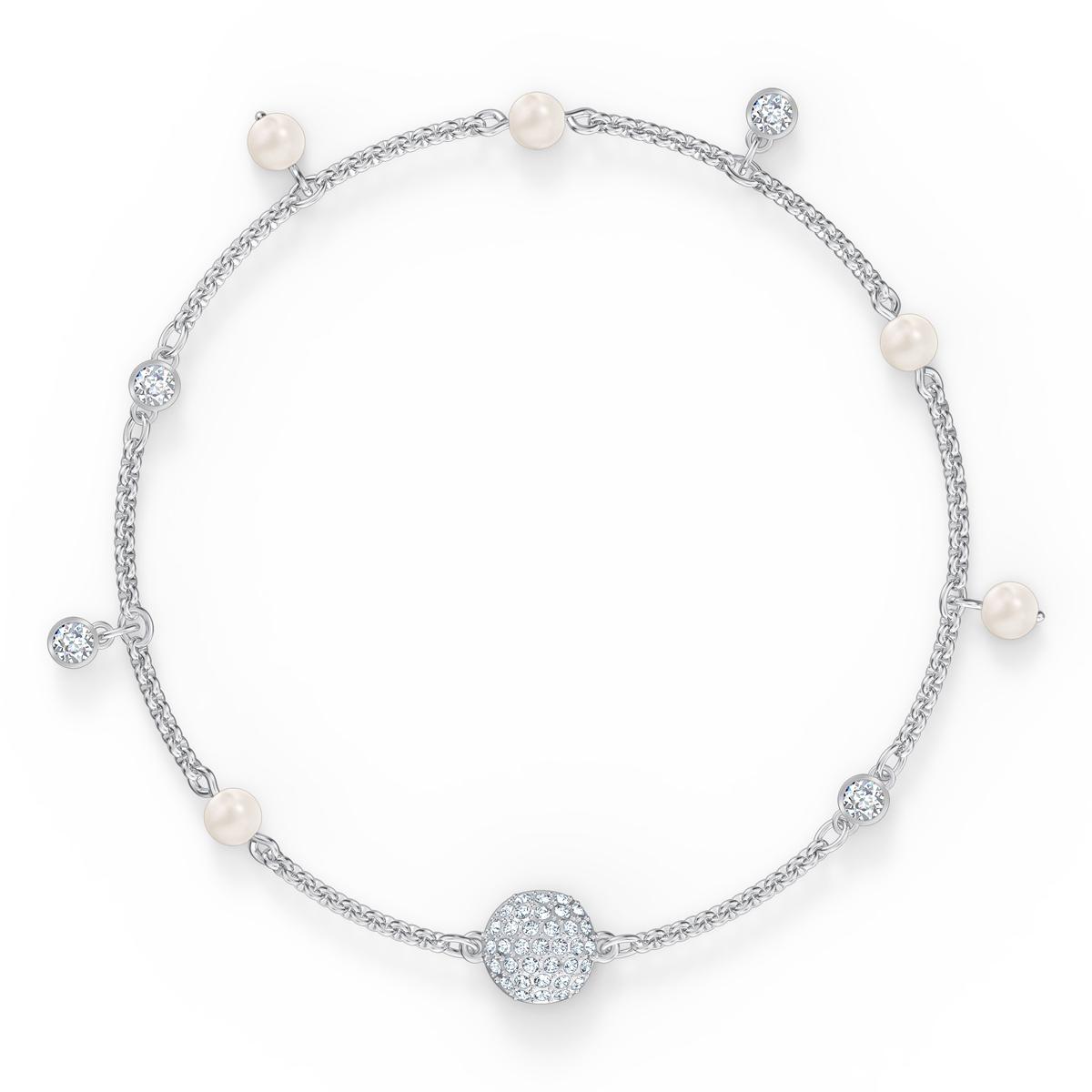 Swarovski Remix Bracelet Delicate Pearl Strand, White, Rhodium Plated