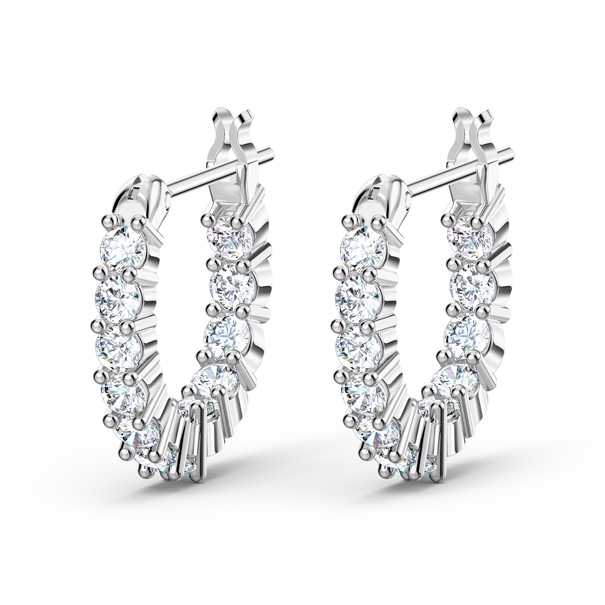 Swarovski Vittore Mini Hoop Pierced Earrings, White, Rhodium Plated