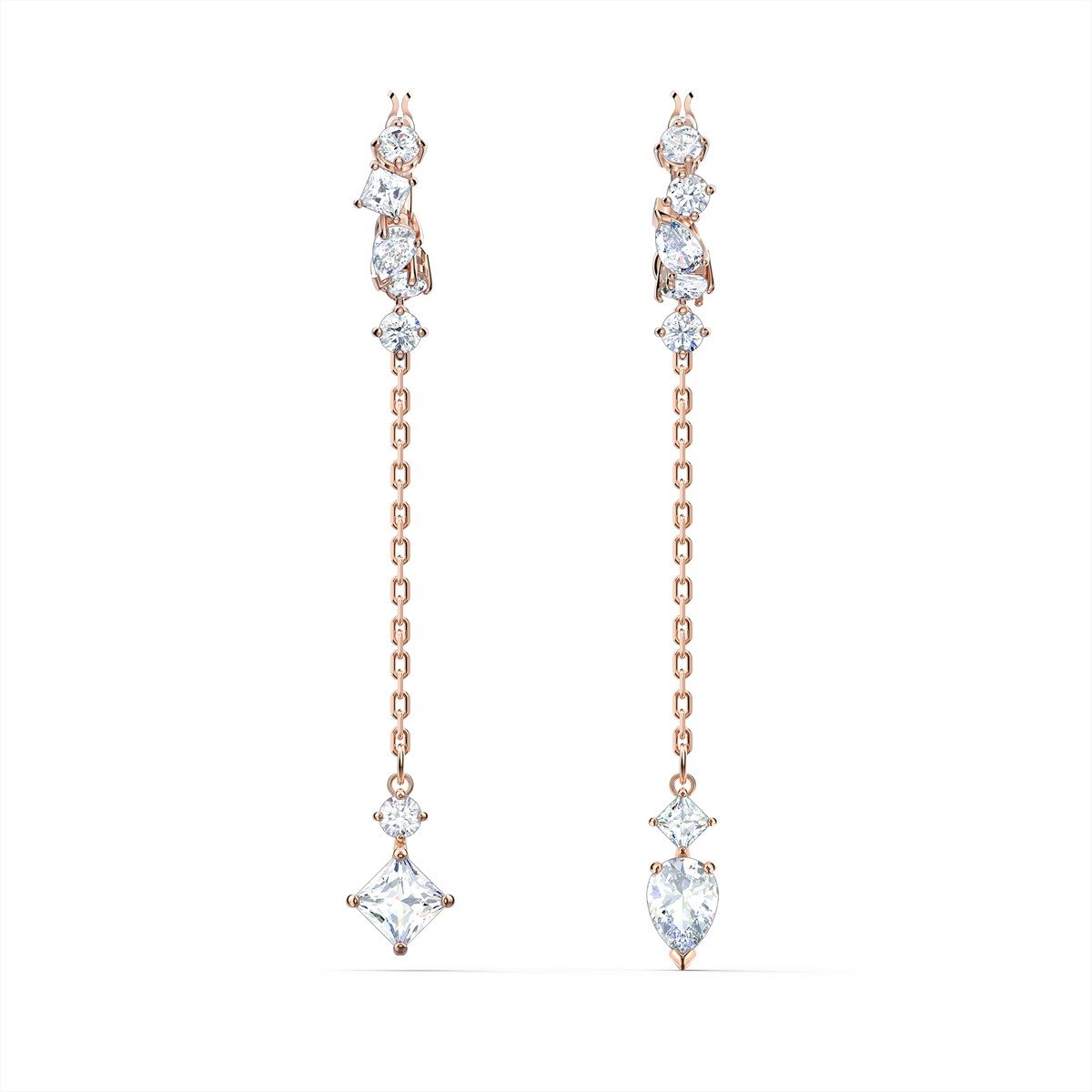 Swarovski Attract Pierced Earrings, White, Rose Gold Tone Plated
