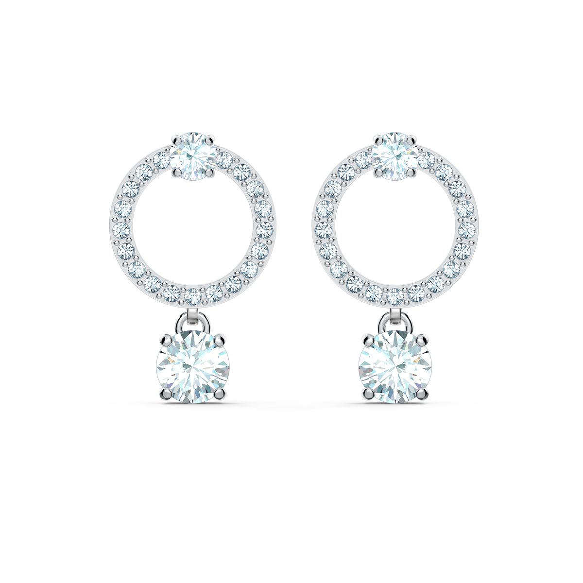 Swarovski Attract Circle Pierced Earrings, White, Rhodium Plated